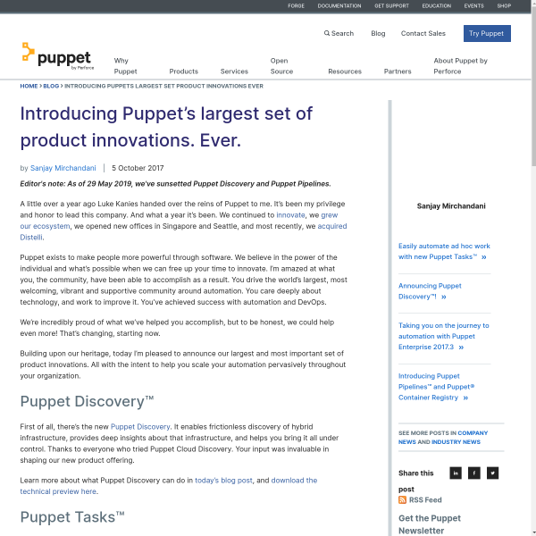 Introducing Puppet's largest set of product innovations. Ever.