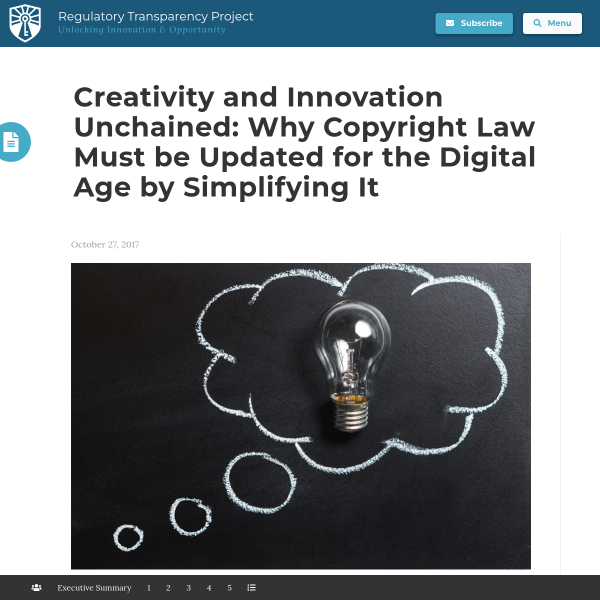 Creativity and Innovation Unchained: Why Copyright Law Must be Updated for the Digital Age by Simplifying It - Regulatory Transparency Project