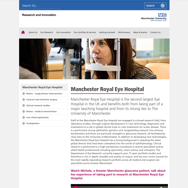 Manchester Royal Eye Hospital — Research & Innovation