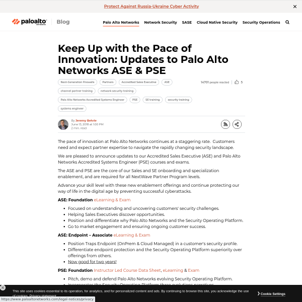 Keep Up with the Pace of Innovation: Updates to Palo Alto Networks ASE & PSE