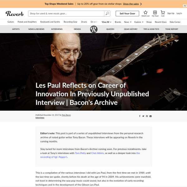 Les Paul Reflects on Career of Innovation In Previously Unpublished Interview - Bacon's Archive