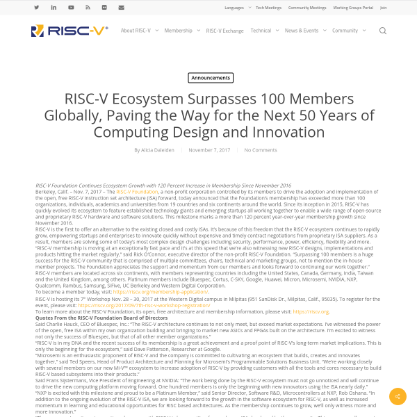 RISC-V Ecosystem Surpasses 100 Members Globally, Paving the Way for the Next 50 Years of Computing Design and Innovation - RISC-V Foundation