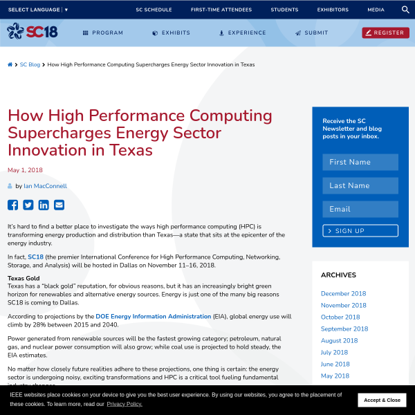 How High Performance Computing Supercharges Energy Sector Innovation in Texas - SC18
