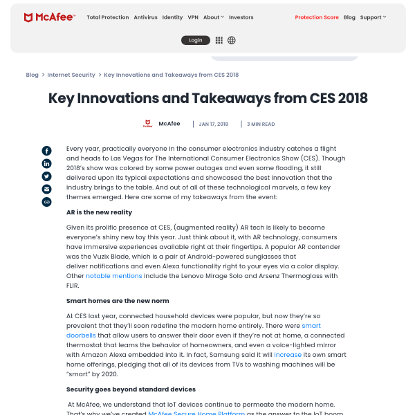 Key Innovations and Takeaways from CES 2018 - McAfee Blogs