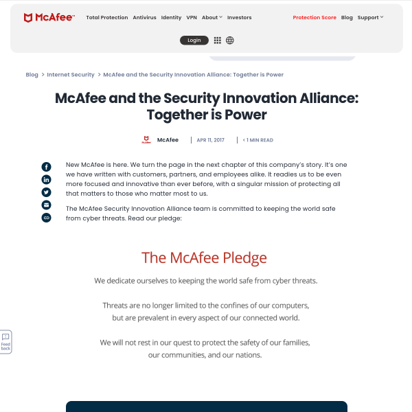 McAfee and the Security Innovation Alliance: Together is Power - McAfee Blogs