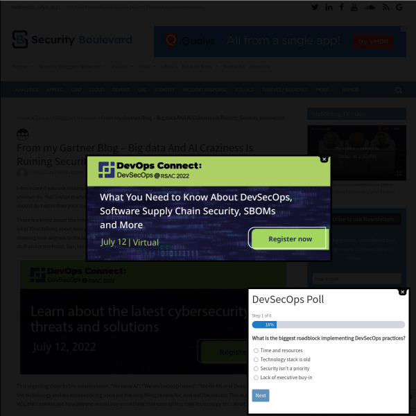 From my Gartner Blog - Big data And AI Craziness Is Ruining Security Innovation - Security Boulevard