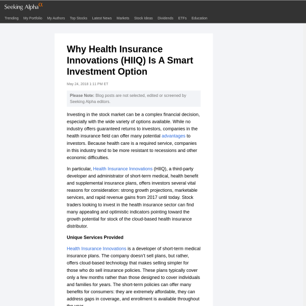 Why Health Insurance Innovations (HIIQ) Is A Smart Investment Option - Maddi Salmon