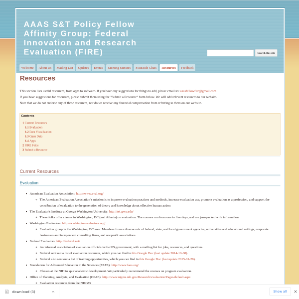 Resources - AAAS S&T Policy Fellow Affinity Group: Federal Innovation and Research Evaluation (FIRE)