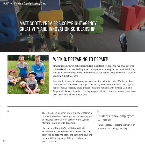 Matt Scott: Premier's Copyright Agency Creativity and Innovation Scholarship