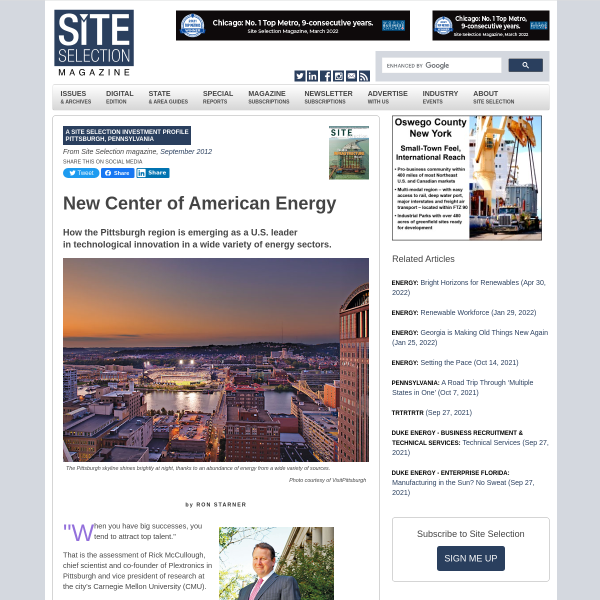 Pittsburgh, Pennsylvania: How the Pittsburgh region is emerging as a U.S. leader in technological innovation in a wide variety of energy sectors. - Site Selection Online