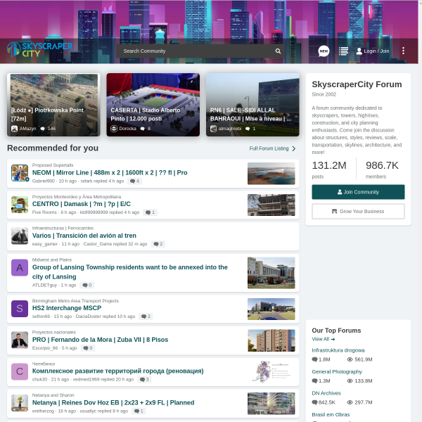 SkyscraperCity - Powered by vBulletin screenshot