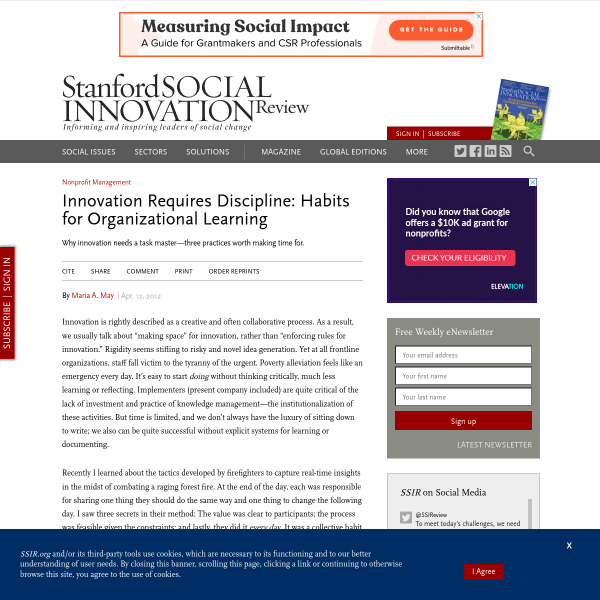 Innovation Requires Discipline: Habits for Organizational Learning (SSIR)