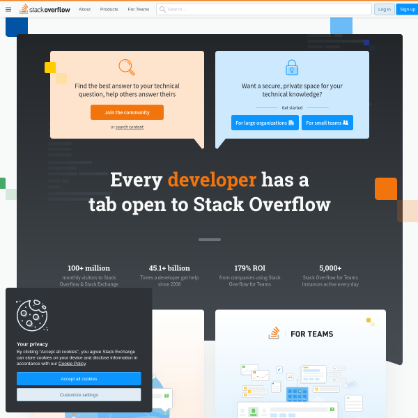 Stack Overflow - Where Developers Learn, Share, & Build Careers screenshot