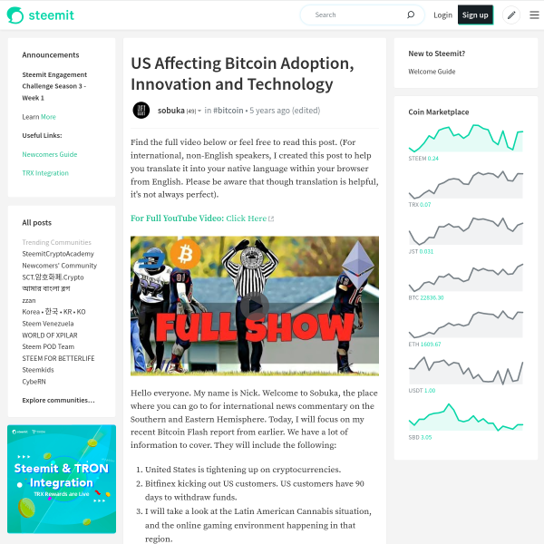 US Affecting Bitcoin Adoption, Innovation and Technology — Steemit