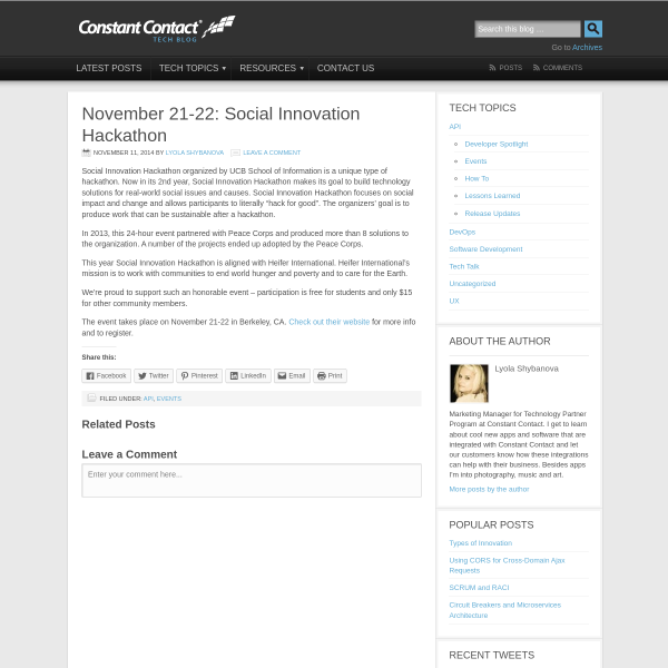 November 21-22: Social Innovation Hackathon - Constant Contact Tech Blog
