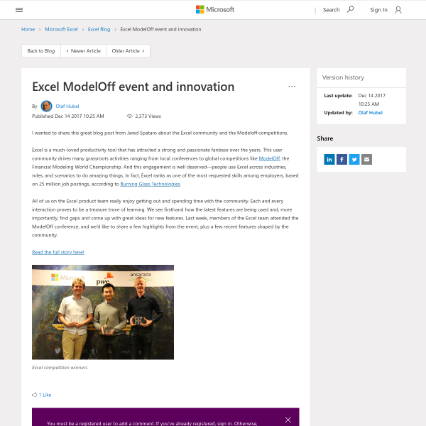 Excel ModelOff event and innovation