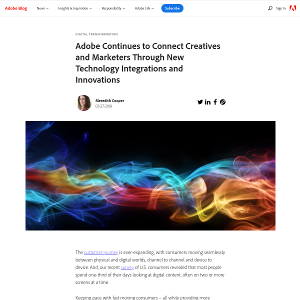 Adobe Continues to Connect Creatives and Marketers Through New Technology Integrations and Innovations - Adobe Blog