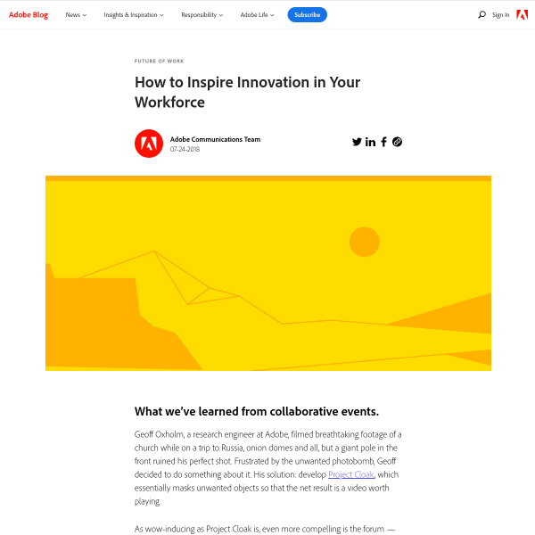 How to Inspire Innovation in Your Workforce - Adobe Blog
