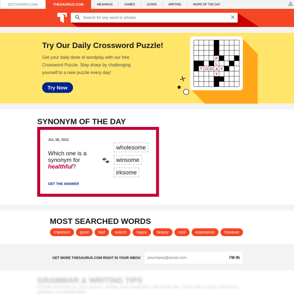 Thesaurus.com | Synonyms and Antonyms of Words at Thesaurus.com screenshot