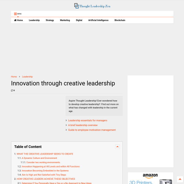 Innovation through creative leadership