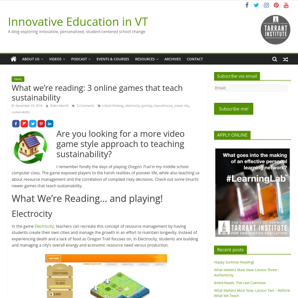 What we're reading: 3 online games that teach sustainability - Innovation: Education