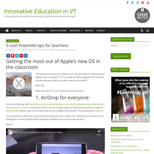 5 cool Yosemite tips for teachers - Innovation: Education