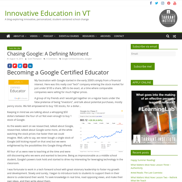 Chasing Google: A Defining Moment - Innovation: Education