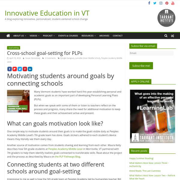 Cross-school goal-setting for PLPs - Innovation: Education