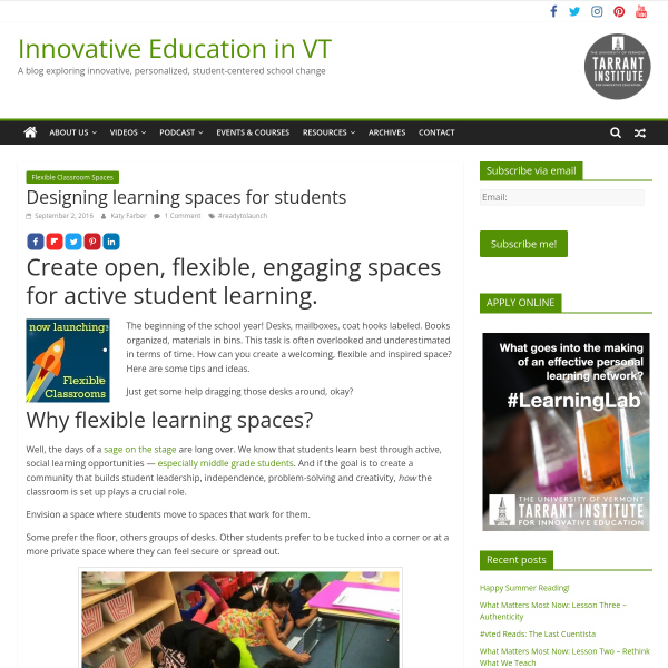 Designing learning spaces for students - Innovation: Education