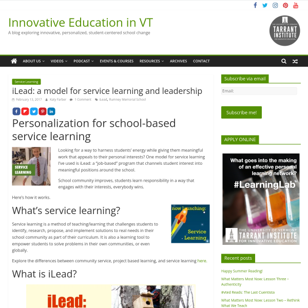 iLead: a model for service learning and leadership - Innovation: Education
