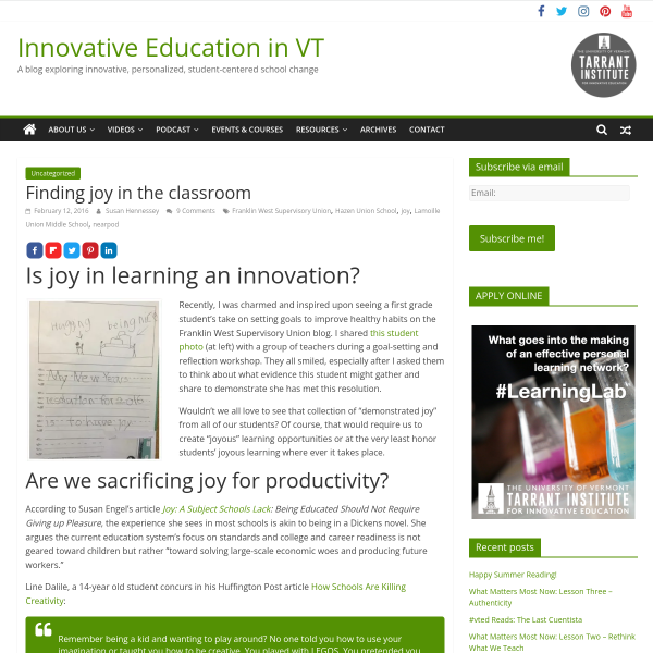 Finding joy in the classroom - Innovation: Education