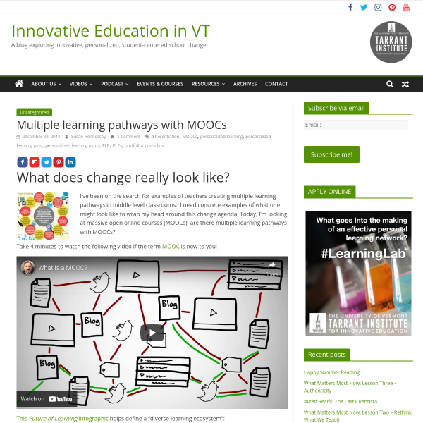 Multiple learning pathways with MOOCs - Innovation: Education