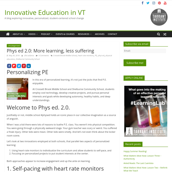 Phys ed 2.0: More learning, less suffering - Innovation: Education