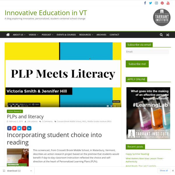 PLPs and literacy - Innovation: Education