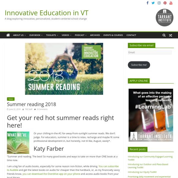 Summer reading 2018 - Innovation: Education