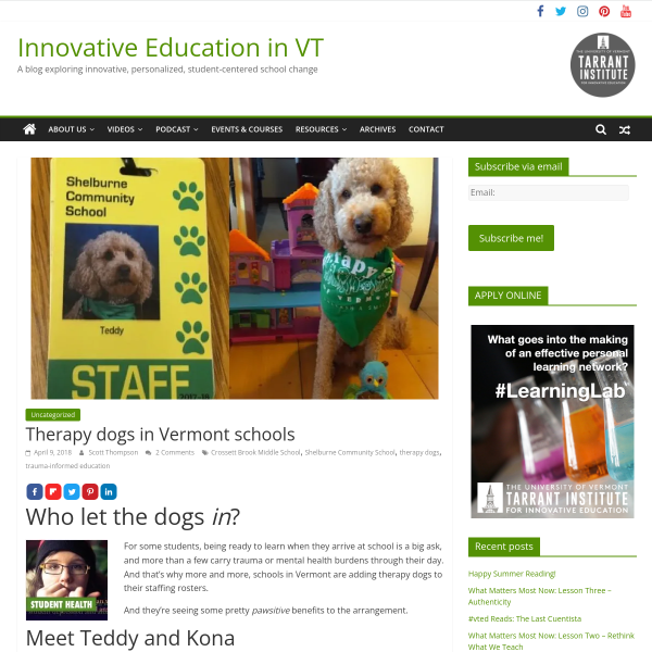 Therapy dogs in Vermont schools - Innovation: Education