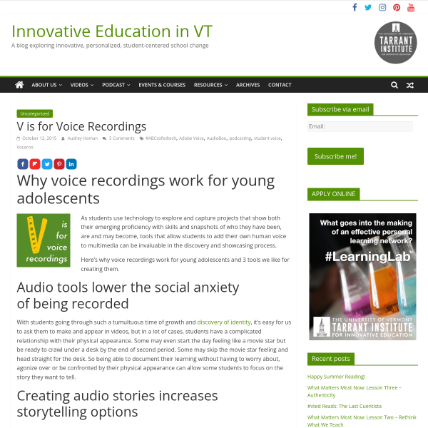 V is for Voice Recordings - Innovation: Education