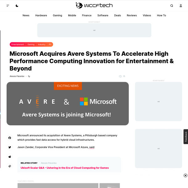 Microsoft Acquires Avere Systems To Accelerate High Performance Computing Innovation for Entertainment & Beyond