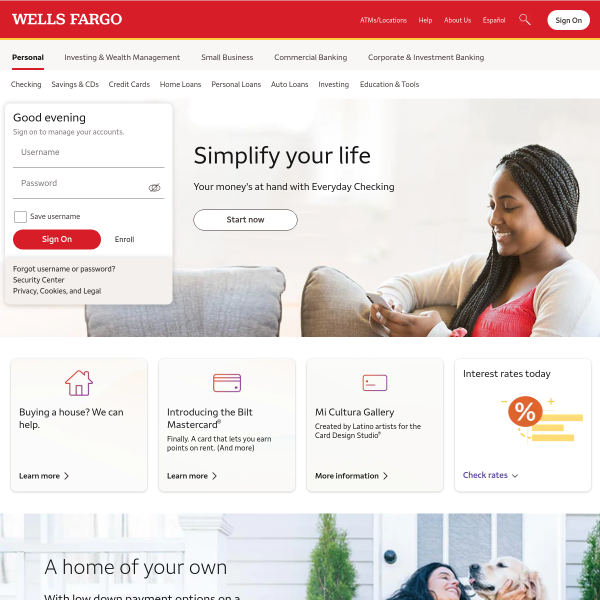 Wells Fargo – Banking, Credit Cards, Loans, Mortgages & More screenshot