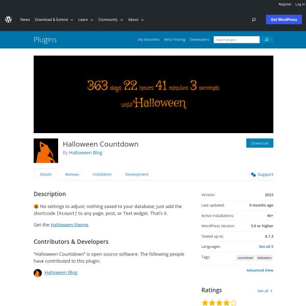 Halloween Countdown Plugin