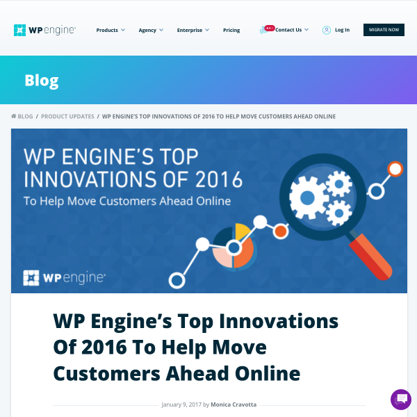 WP Engine's Top Innovations of 2016 to Help Move Customers Online
