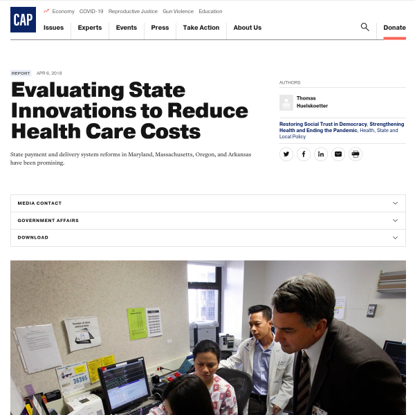 Evaluating State Innovations to Reduce Health Care Costs - Center for American Progress