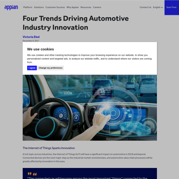 FOUR Trends Driving Automotive Industry Innovation - Appian