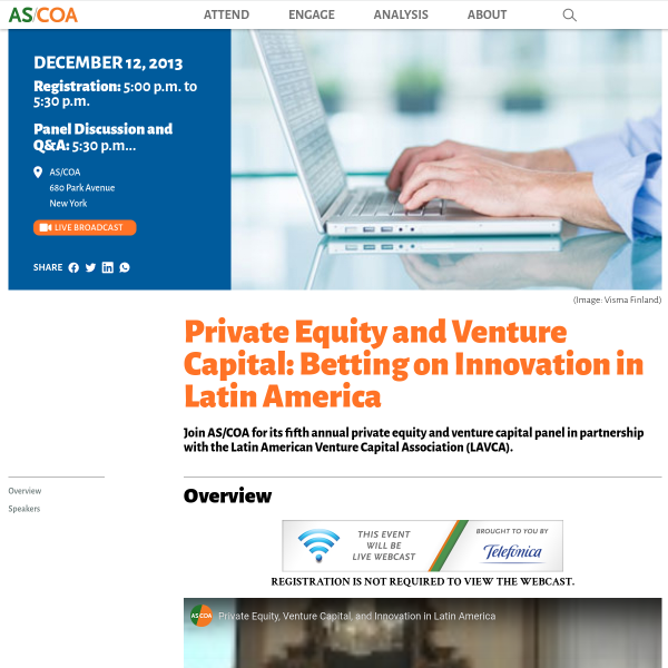 Private Equity and Venture Capital: Betting on Innovation in Latin America - AS/COA