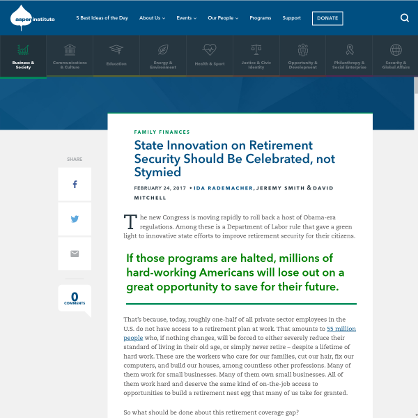 State Innovation on Retirement Security Should Be Celebrated, not Stymied - The Aspen Institute