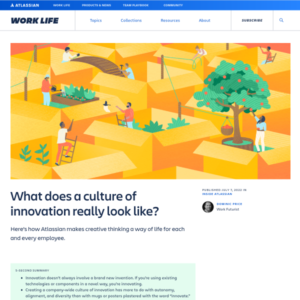 How to build a culture of innovation every day - Atlassian Blog