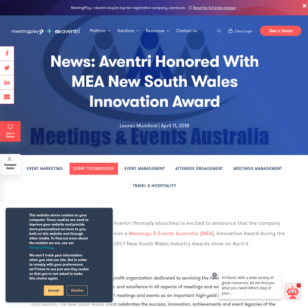 News: Aventri Honored With MEA New South Wales Innovation Award