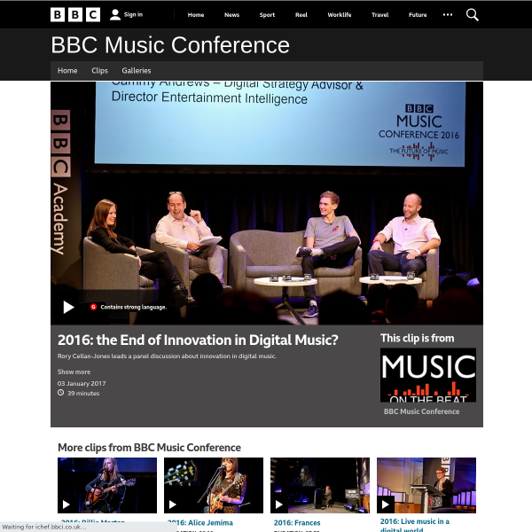 2016: the End of Innovation in Digital Music?, BBC Music Conference - BBC Music