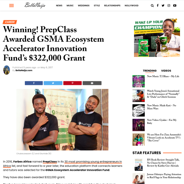 Winning! PrepClass Awarded GSMA Ecosystem Accelerator Innovation Fund's $322,000 Grant - BellaNaija