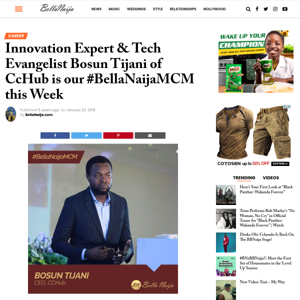 Innovation Expert & Tech Evangelist Bosun Tijani of CcHub is our #BellaNaijaMCM this Week - BellaNaija